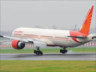 First Air India flight arrives at T3.