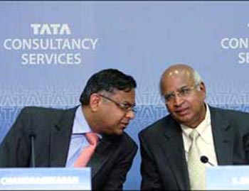 TCS CEO N Chandrasekaran (left) with former TCS chief S Ramadorai.
