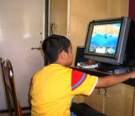 A child using comp