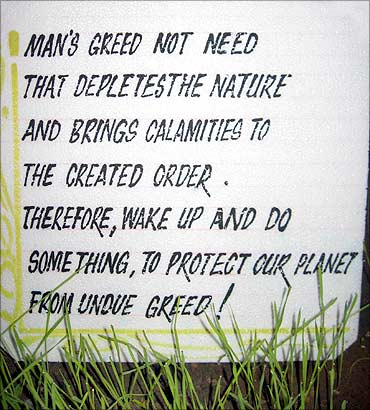 A message on man's greed.