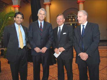 Left-right: Francisco Dsouza, Ceo Cognizant, Timothy J Roemer, US Ambassador to India, Terry McGraw III, USIBC Chairman, Chairman, President and CEO McGraw-Hill Companies, Ron Summers, president of the US-India Business Council.
