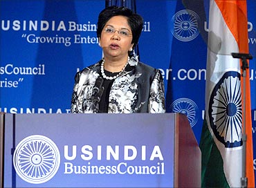 Indra Nooyi speaking at the USIBC anniversary function.