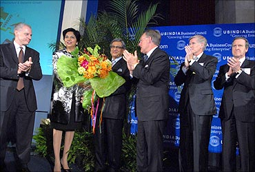 From Left: USIBC President Ron Sommers, PepsiCo CEO Indra Nooyi, External Affairs Minister S M Krishna, USIBC Chairman Terry McGraw, President of Boeing International Shephard Hill and Cohen Group  Chairman William Cohen at USIBC anniversary function in Washington