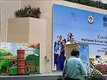 Kambha at the launch of the National School Sanitation Initiative at Vigyan Bhavan.