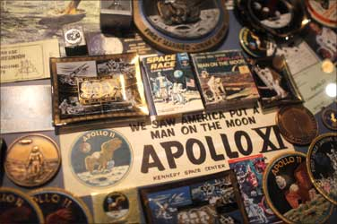 Apollo 11 souvenirs at the US Astronaut Hall of Fame in Cape Canaveral.