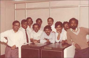 A file photo of the founder members of Infosys. Extreme left: Narayana Murthy.