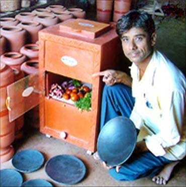 Mansukhbhai with his products.