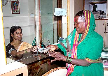 A customer at the Mann Deshi Bank