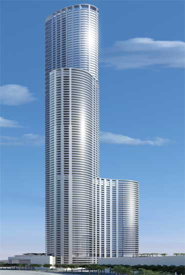 Design of the proposed WorldOne building in Mumbai.