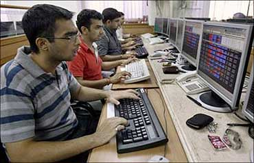 Indian engineers work at a technology start-up company in Bangalore.