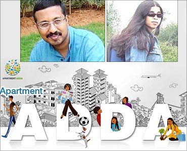 Co-founders, Apartmentadda.com, Venkat Kandaswamy, Sangeetha Banerjee (inset).
