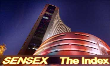 The illuminated Bombay Stock Exchange.
