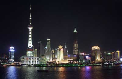 The glittering Shanghai skyline.