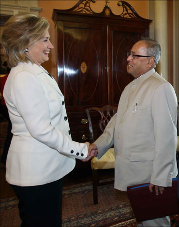 Hillary Clinton with Finance Minister Pranab Mukherjee.