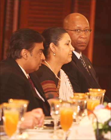 From L-R: Mukesh Ambani, Meera Shankar and United States Trade Representative Ambassador Ron Kirk.