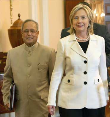 Finance Minister Pranab Mukherjee and US Secretary of State Hillary Clinton.