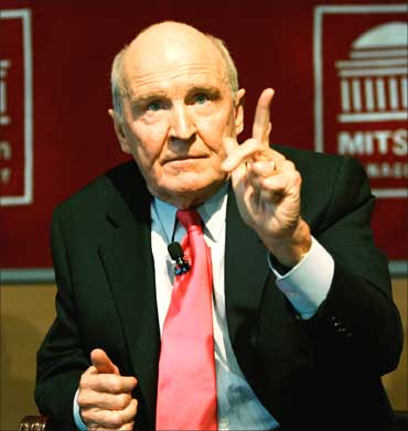 Retired CEO and Chairman of General Electric Jack Welch speaks to students at the Sloan School of Management at the Massachu