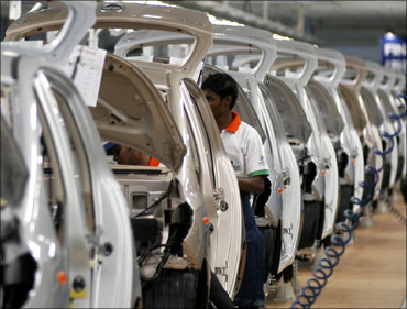 A worker at an auto factory in Chennai.