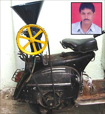 A scooter-powered flour mill. Jehangir Painter, innovator (inset).