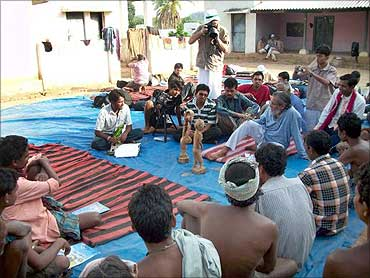 Anil Gupta with the villagers.