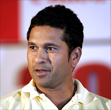 Sachin Tendulkar, brand ambassador for Canon, at a promotional event in Kolkata.
