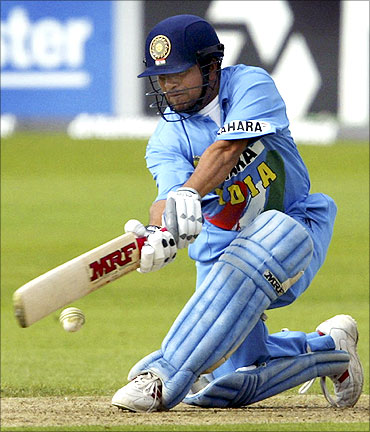 Sachin Tendulkar plays a sweep shot against Sri Lanka.