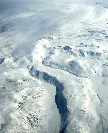 An aerial picture shows part of Europe's biggest glacier Vatnajokull, in south-eastern Iceland.