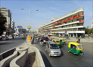 A busy road in Ahmedabad.