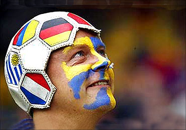 A Sweden fan before the country's soccer match against Spain.