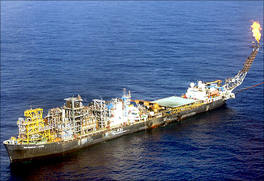 An aerial view shows the state oil company Petrobras P-34 oil rig in the Campos basin.