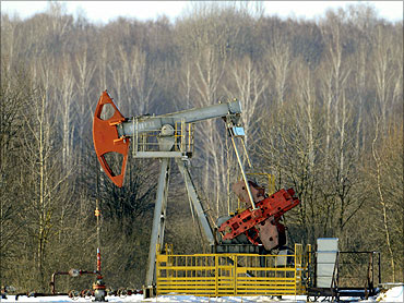 An oil pump jack is seen near Belarussian village of Bezuev, southeast of Minsk.