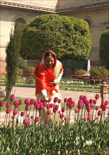 President Pratibha Patil touches a display of tulips inside the famous Mughal Garden.