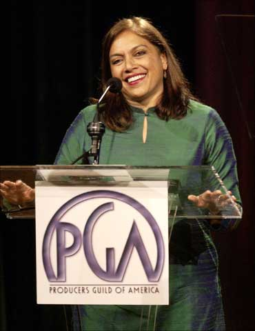 Mira Nair accepts her award at The Producers Guild of America's 3rd annual Celebration of Diversity dinner in Beverly Hills.