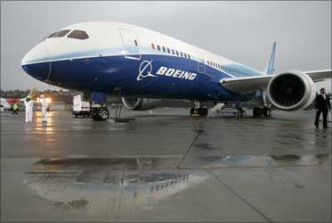 The Boeing 787 Dreamliner sits on the tarmac at Boeing Field in Seattle, Washington.