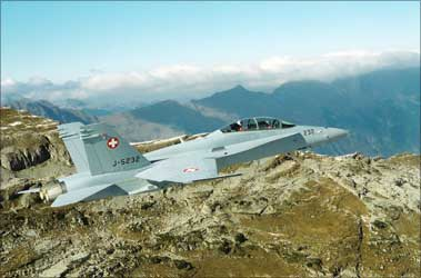 An undated handout photo shows a Swiss Air Force twin seater Boeing FA-18D Hornet fighter plane.