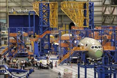Assembly of the first Boeing 787 Dreamliner takes place at the company's Everett, Washington plant.