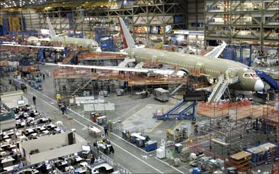 Final assembly takes place on the Boeing 787 Dreamliner passenger planes at the company's Everett, Washington plant.