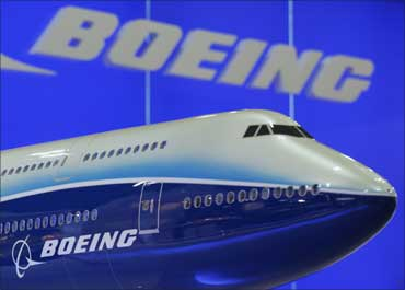 A model of Boeing 747 passenger plane is displayed at the Asian Aerospace Expo in Hong Kong.