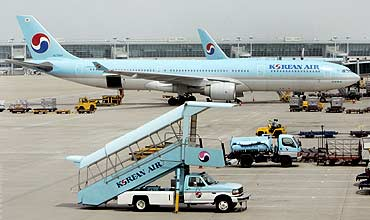 South Korea's largest carrier Korean Air's planes are parked at Incheon International Airport.