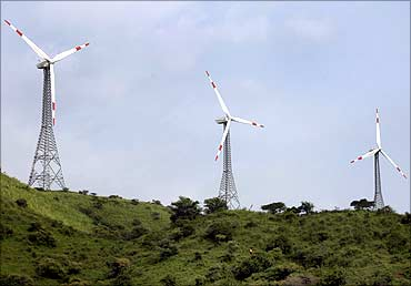 Power-generating windmill turbines in Suzlon wind farm near Ahmedabad.