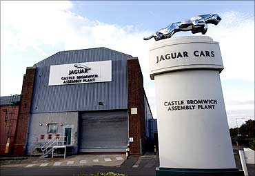An emblem outside the Jaguar assembly plant in Castle Bromwich, Birmingham.