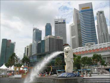 The Merlion near Singapore's central business district.