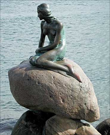 The Little Mermaid in Copenhagen, capital of Denmark.