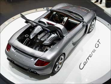 The Porsche Carrera GT is displayed at the North American International Auto show.