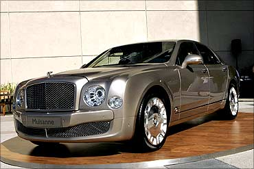 The Bentley Mulsanne, the British carmaker's new flagship automobile, is shown in San Francisco, California.