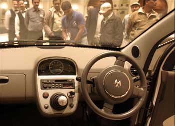 Interior view of the Bajaj car.