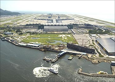 Aerial view of the Hong Kong International Airport.