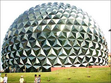 The four-screen multiplex at the Infosys Mysore Development Centre. Shaped like a massive golf ball, it is perhaps the most photographed structure on the sprawling Infosys campus.
