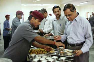 A file photo of Narayana Murthy in his office cafeteria during lunch time.