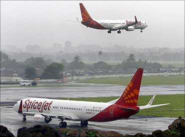 SpiceJet aircraft in Mumbai.